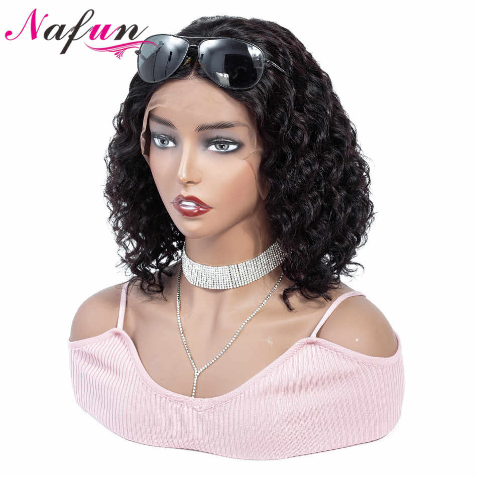 Nafun13x4 парики из натуральных волос на кружеве глубокая волна боб парики на кружеве предварительно сорванные для черных женщин индийские волосы remy Бесплатная доставка