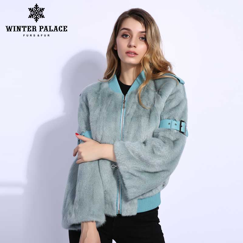 Fashion Real Mlnk Fur Coat Woman Solid Fur Coats Women Short Slim Shovel Fur Coat Baseball Uniform Jacket Casual Mlnk Fur Coat