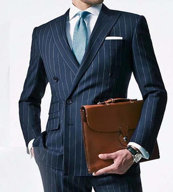 dbe4fce7872 Chalk Stripe Men Suit Custom Made Navy Blue Mens Striped Suit Tailored  Double Breasted Men Suit 2 Pieces(Jacket+Pants)