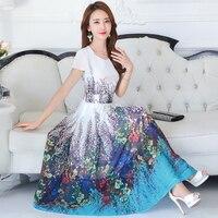 Plus Size 4XL Chiffon Dress Women Middle Aged Short Sleeve Summer Bohemian Dress Printing Maxi Long Beach Dress Vestidos