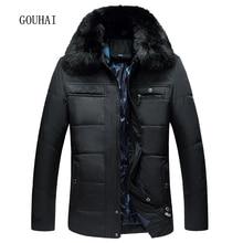 Fur Collar Winter Jacket Men 2017 New Business Mens Winter Parkas Men Thicking Warm Solid Parka Homme Plus Size L-3XL
