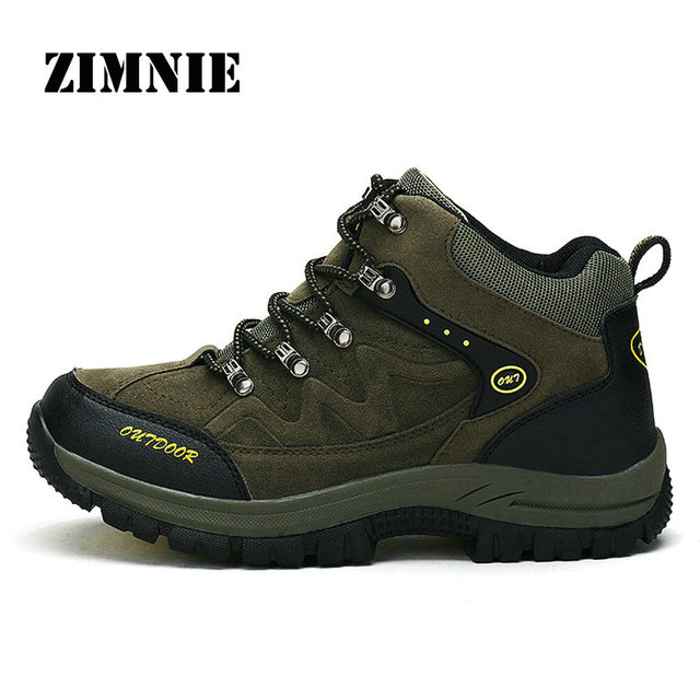 ZIMNIE Wear Resistant Men Hiking Shoes Waterproof Trekking pu Leather Shoes New Breathable Climbing Outdoor Shoes Big Size 36~48