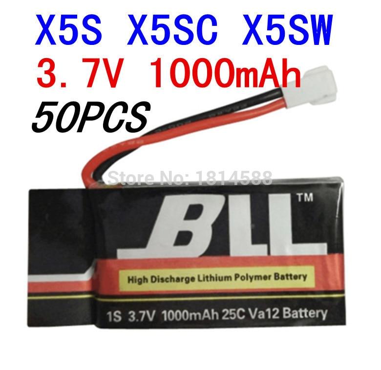50PCS Syma X5SW X5SC X5S Spare Part 3.7V 1000Mah 25C Va32 Upgraded Lipo Battery 100pcs syma x5sw x5sc x5s spare part
