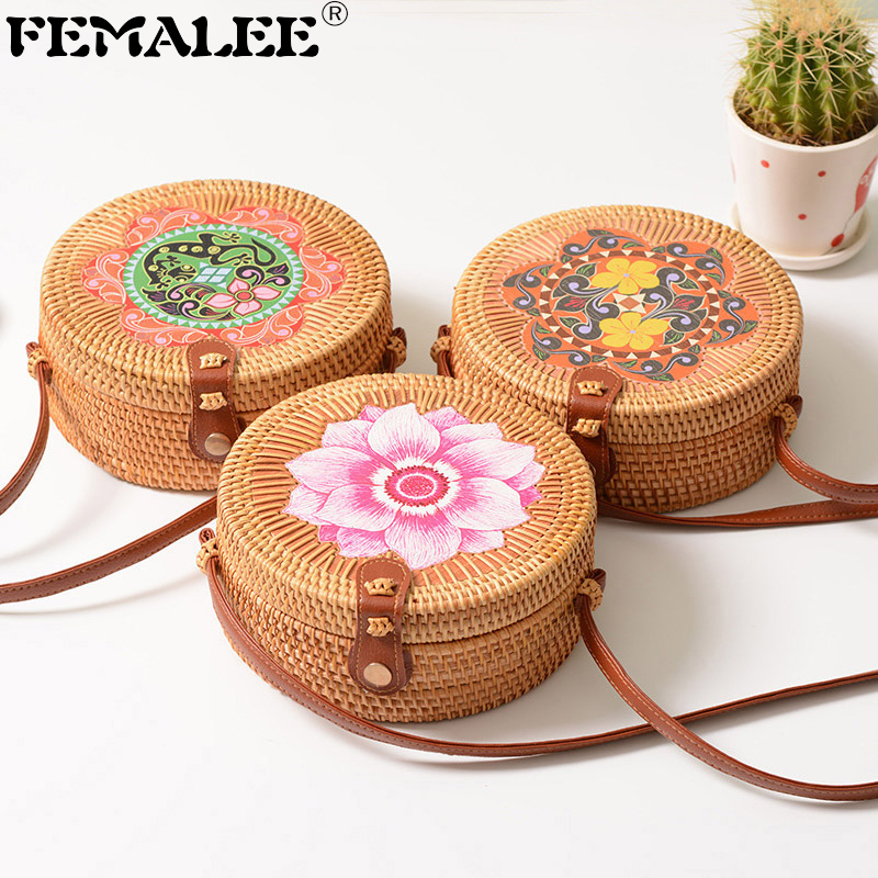 FEMALEE Round Rattan Bag Print Vintage Handmade Shoulder Sen Butterfly Bag Circle Straw Woven Bag Cross Body Summer Bali Bags Сумка
