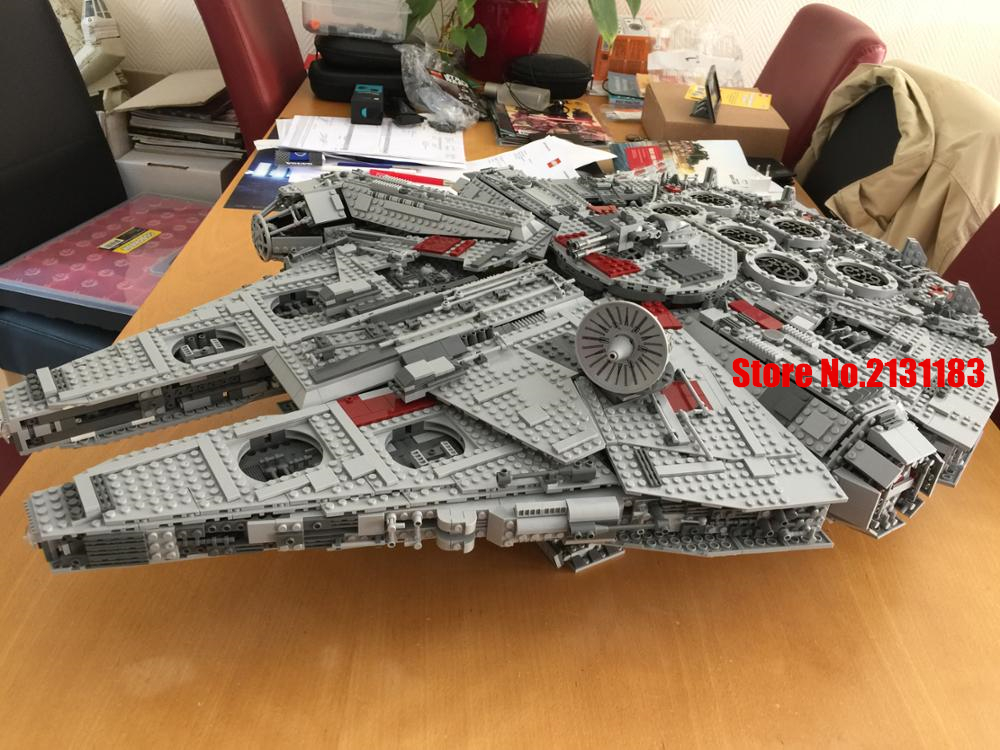 lepin 05033 Star Plant Warship Ultimate Collector's Millennium Falcon Model Building kit Blocks Brick Toys Compatible 10179 new 5265pcs star wars ultimate collector s millennium falcon model building kits blocks bricks kids toys compatible with 10179
