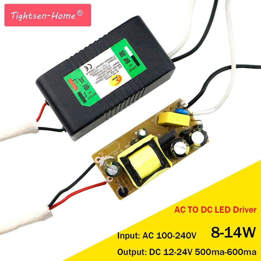 12V 24V LED conductor 8-14W para 12-24V 600mA AC a DC transformador para 3*3W 12W entrada AC85-265V punto de luz/reflector de alta calidad Controlador cree XHP70 6v 5 modo dia26mm input7-18v output6V 4A controlador de linterna Led de corriente constante