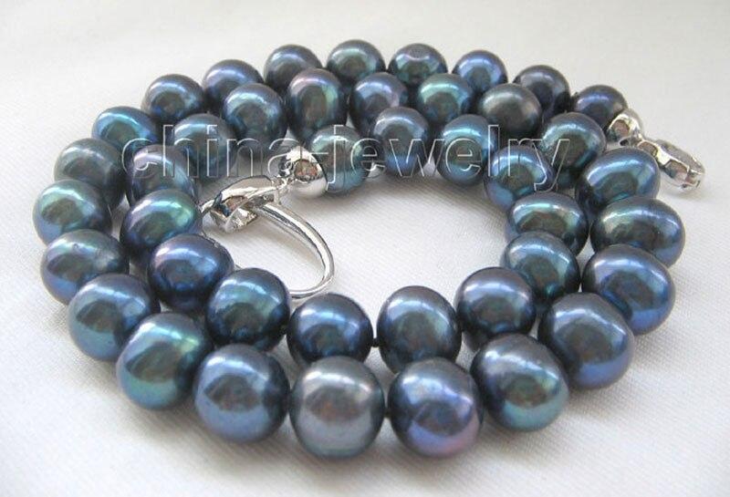 Collier de perles d'eau douce rondes noires naturelles P4815-18