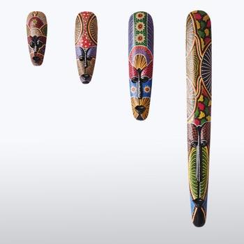 Masque peint à la main en bois   Décoration murale suspendue, décoration asie du sud-est salon orient du Pakistan, masque mural décoré artisanat thaïlandais