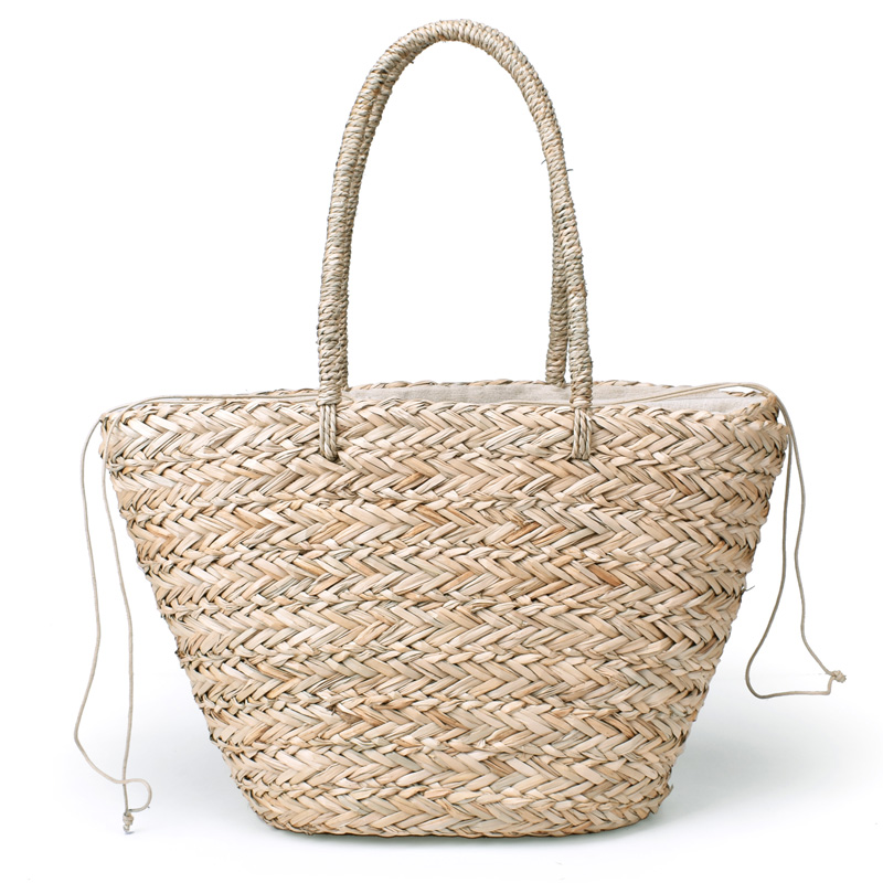 New Grass Handbags Drawstring Basket totes bag Travel Tote Large size Bohemian Beach Bag Women Handmade Straw Bags rerekaxi new bohemian beach bag for women cute handmade straw bags summer grass handbags drawstring basket bag travel tote