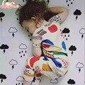 Babybabies 16 Summner New Bobo Choses Graffiti Crianças T-shirt Roupas Crianças cotton curto-de mangas compridas Romper escalada roupas 2 pcs