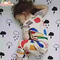 Babybabies 16 Summner New Bobo Choses  Kids Graffiti T-shirt Clothing Toddlers cotton short-sleeved Romper climbing clothes 2pcs