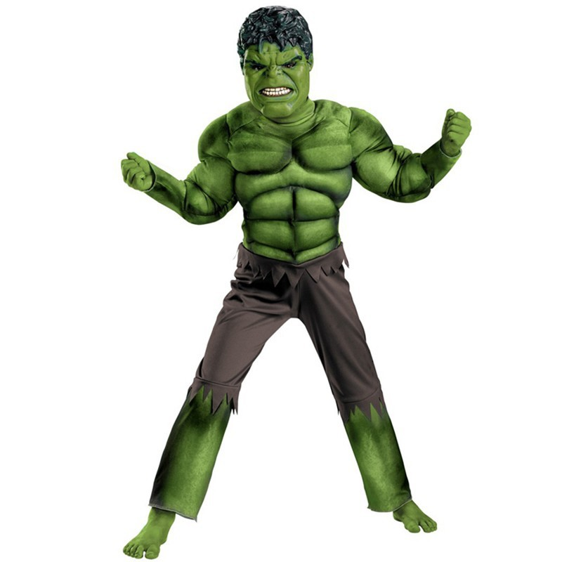 Factory Direct Selling Boys Hulk Muscle Cosplay Kläder Kids Avengers Superhero Movie Rollspel Party Halloween Purim Kostymer