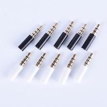 10 шт./лот 3,5 мм стерео гарнитура штекер с хвостом 4 полюса позолоченный 3,5 мм аудио разъем Jack адаптер Разъем для Iphone
