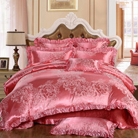Luxury 4Pc Lace Sateen Silky European Style Jacquard Flora Queen/King Size Bed Linen Quilt/Doona/Duvet Cover Set&Sheet Coral Red
