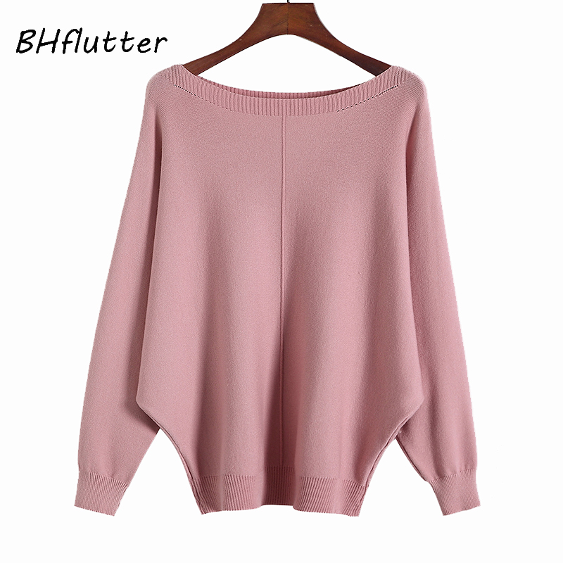 BHflutter Sueter mujer invierno 2018 invierno suéter mujer nuevo Batwing Casual cachemir suéteres mujer punto jersey