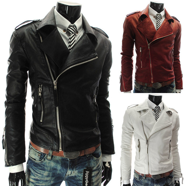2014 New Spring Street style Motorcycle Zipper PU Leather Mens Jackets Slim fit Jaquetas de Couro Casual Coats for Man M-XXL