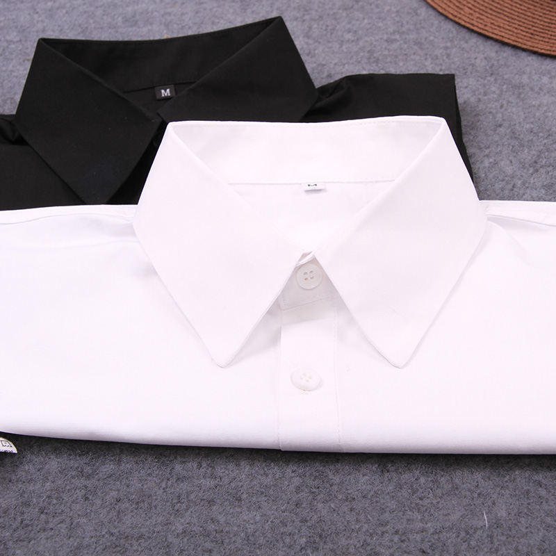Female Tie Blouse Detachable-Collar Lapel Fake Black White Womens Decor Cotton Solid