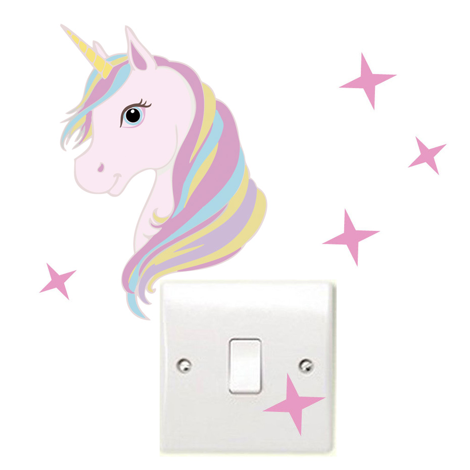 Cute Cartoon Unicorn and Bling Stars Wall Decal Art Stickers Vinyl Home Room kids room nursery room child wall Decors