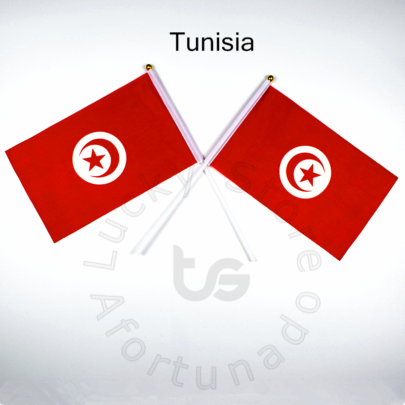 Tunisia 14*21cm 10pieces Flag  Banner   Free Shipping Hand Waving Flag National Flag For Meet,Parade,party.Hanging,decoration