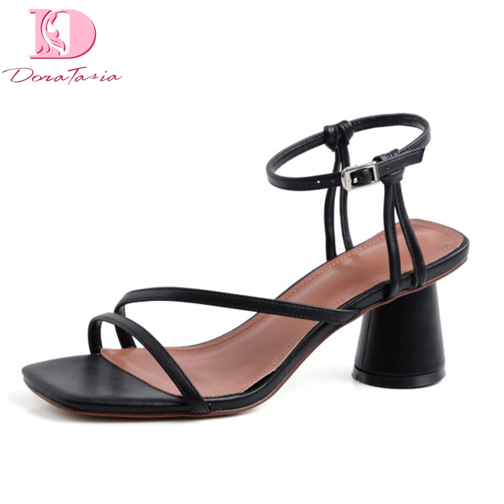 Doratasia Top Quality genuine leather Summer High Heeled ankle strap Sandals Women Shoes Sexy Party Shoes
