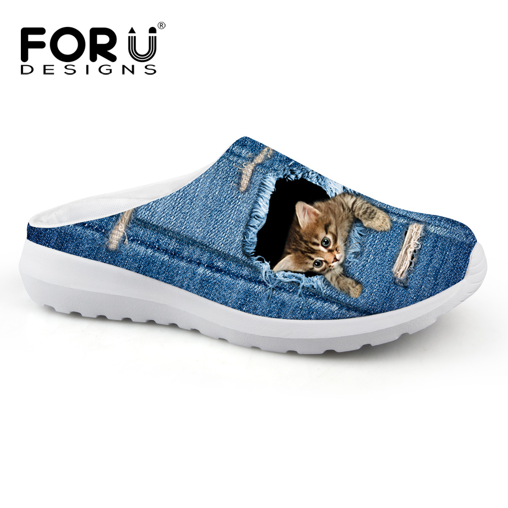 FORUDESIGNS Cute Pet Cat Denim Bercetak Wanita Sandal Light Weight Slip-on Summer Beach Kasut Air Perempuan Loafers Bernafas