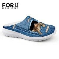 2016 Fashion Women Summer Beach Water Shoes Lightweight Slip On Sandals Cute Pet Cat Denim Loafers
