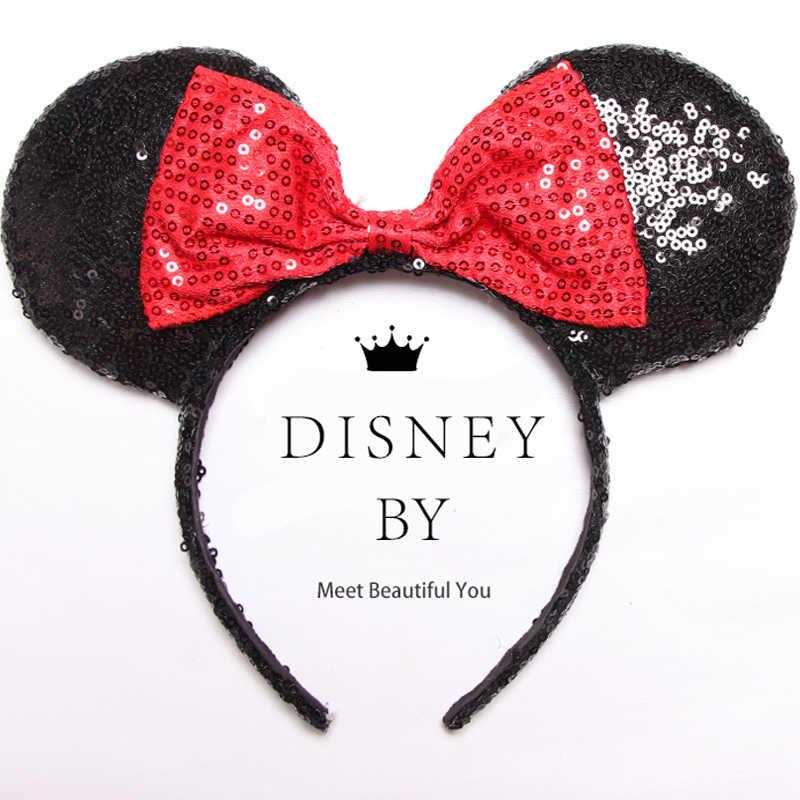 Disney Новые Девушки уши головной убор аксессуары ролевые игры Минни Маус волосы-группа женщин блесток Bling наголовный обруч день рождения подарок