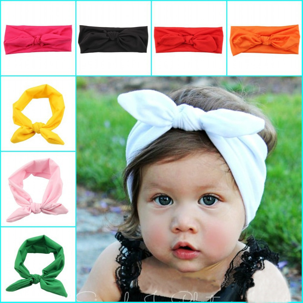 New KidsHeadband White knot tie headband headwrap Vintage Head Wrap Photo  Prop stretchy Knot Girls Hair Accessories c71db253e4a
