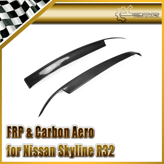 EPR Car Styling For Nissan Skyline R32 Carbon Fiber Eyebrow Glossy Fibre Finish Front Bumper EyeLid Accessories Racing Trim
