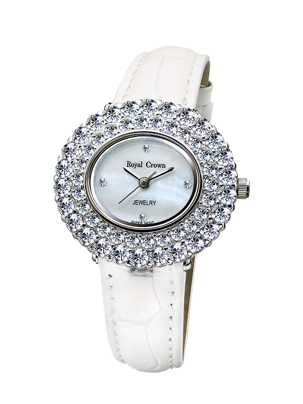 Royal Crown Jewelry Watch 3631 Italy brand Diamond Japan MIYOTA platinum Luxury Dress Diamond Crystal Watch Quartz-watch