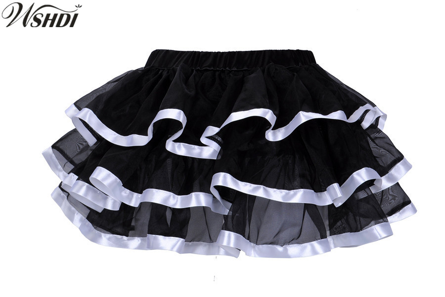 Ruffles Layered Petticoat Skirts Adult White Ribbon Trim Black Organza Sexy Punk Tutu Skirt Showgirl Dance Women Pettiskirts