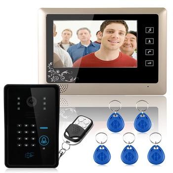 Wired 7 Video Door Phone Intercom System 1 RFID Keypad Code Number Doorbell Camera 1 Monitor 1000TVL Wireless unlocks door wireless with monitor