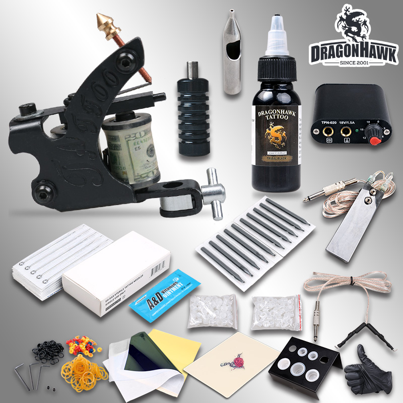 Complete Beginner Tattoo Kit Machine Guns Inks Needles Tattoo Power Supply  D1036-1 beginner tattoo kit 1 machine gun 4 inks needles tattoo power supply d1025gd 2