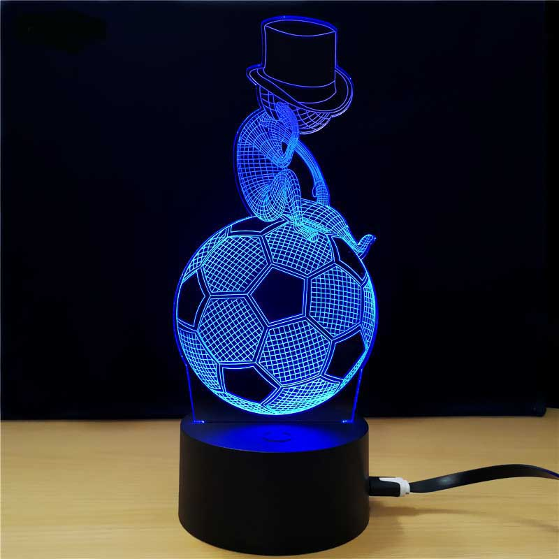 Touch switch 3D Visual Lights LED Football light Cap Helmet 7 color changing USB table desk Lamp Illusion Lamp Night Light