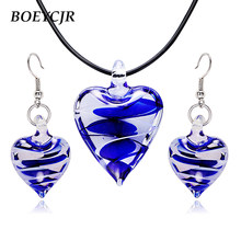 BOEYCJR Glass Heart Pendant Necklace & Earrings Vintage Ethnic Irregular Glass Necklace Fashion Jewelry Set for Women 2019(China)