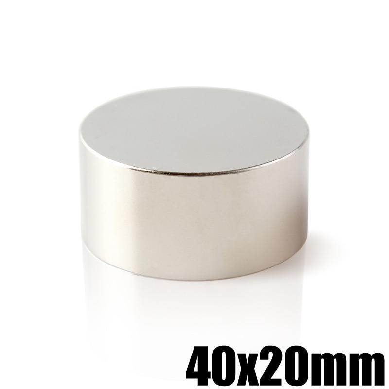2 unids/lote N35 neodimio 40x20mm permanente NdFeB poderoso fuerte estupendo redondo imanes magnéticos 40x20 búsqueda imán
