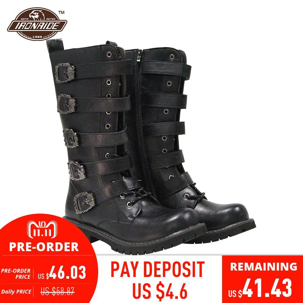 купить Motorcycle Boots Punk Martin Boots Black PU Leather Rock Steampunk Motorbike Boots Mid-calf Metal Buckle Shoes for Men онлайн