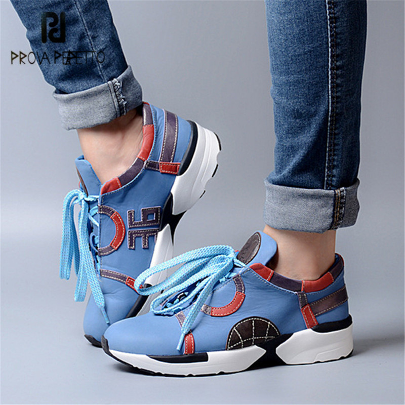 Prova Perfetto Blue Women Flat Shoes Lace Up Sneakers Espadrilles Platform Creepers Female Casual Shoes Woman Tenis FemininoProva Perfetto Blue Women Flat Shoes Lace Up Sneakers Espadrilles Platform Creepers Female Casual Shoes Woman Tenis Feminino