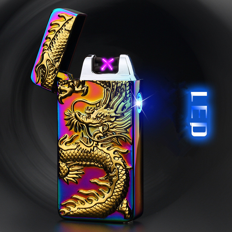 luxury Plating Carving Usb Lighter Rechargeable Tobacco Windproof Lighter LED Electronic Cigarette Lighter Men Gift With Box