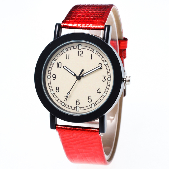 The new simple men and women watch Clockwise display show color leather strap qu