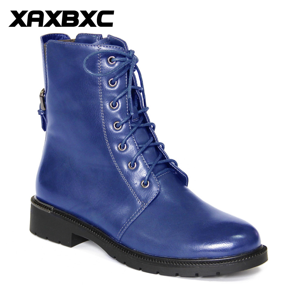 XAXBXC Retro British Style Leather Brogues Oxfords Blue Short Boot Women Shoes Metal Buckle Round Toe