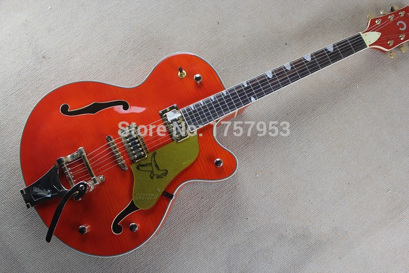 Free Shipping 2017 new Top Factory Custom Gretsch orange Falcon 6120 Semi Hollow Jazz Electric Guitar With Bigsby Tremolo 3 23 free shipping gretsch 6120 hollow body orange stain electric guitar in stock