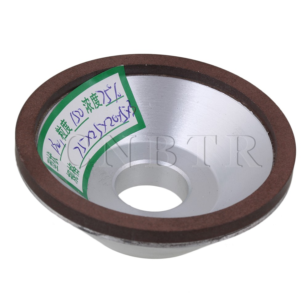 CNBTR 150# Grit Diamond Resin Bowl Shape Grinding Wheel Grinder Cutter 7.5cm Outer Dia v groove glass grinding wheel resin bond fine grit for glass ceramic sculpture cnc machine engraving dia 150 hole 22mm bl063