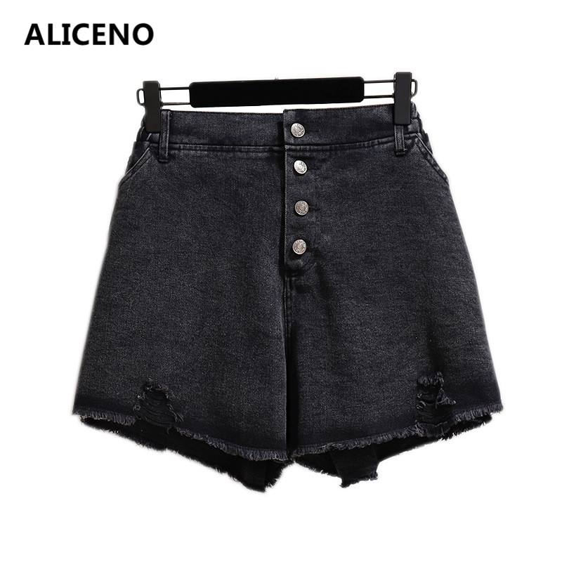 ALICENO 6XL-2XL BIG SIZE 60-150Kg Wear Summer Women High Waist Sexy Black Jeans   Shorts   Button Fly Loose Hole Denim   Shorts