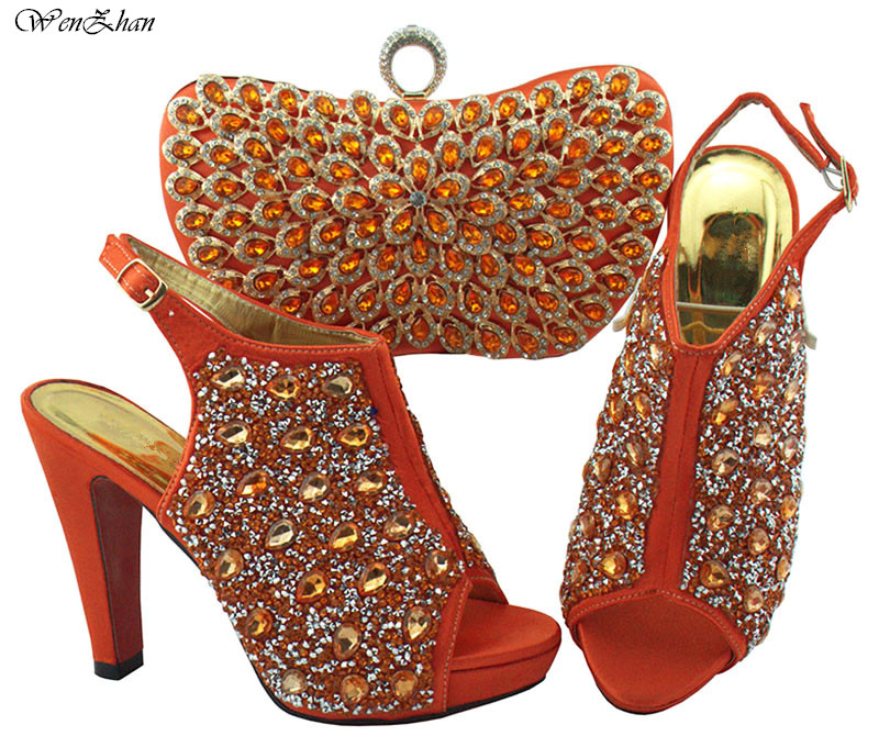 New Matching Italian Shoe and Bag Set Decorated With Rhinestone Italian Shoe and Bag Set for Party Wedding WENZHAN 38 42 B811 24-in Women's Pumps from Shoes    1