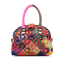 Designer Qualität Echtes Leder Damenhandtasche Luxus Blumen Weiblichen Umhängetasche Mode Lässig Blumen Umhängetasche