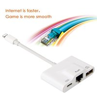 For Lightning to Premium Ethernet Adapter RJ45 LAN Wired Network Cable USB Camera Reader Overseas Travel Compact for iphone/ipad
