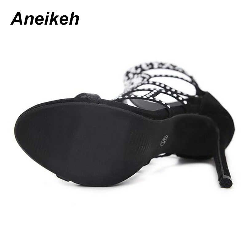 73ca1a80f9b1 ... Aneikeh Rhinestone Gladiator Sandals Open Toe High Heel Sandals Crystal  Ankle Wrap Diamond Gladiator Women Shoes ...