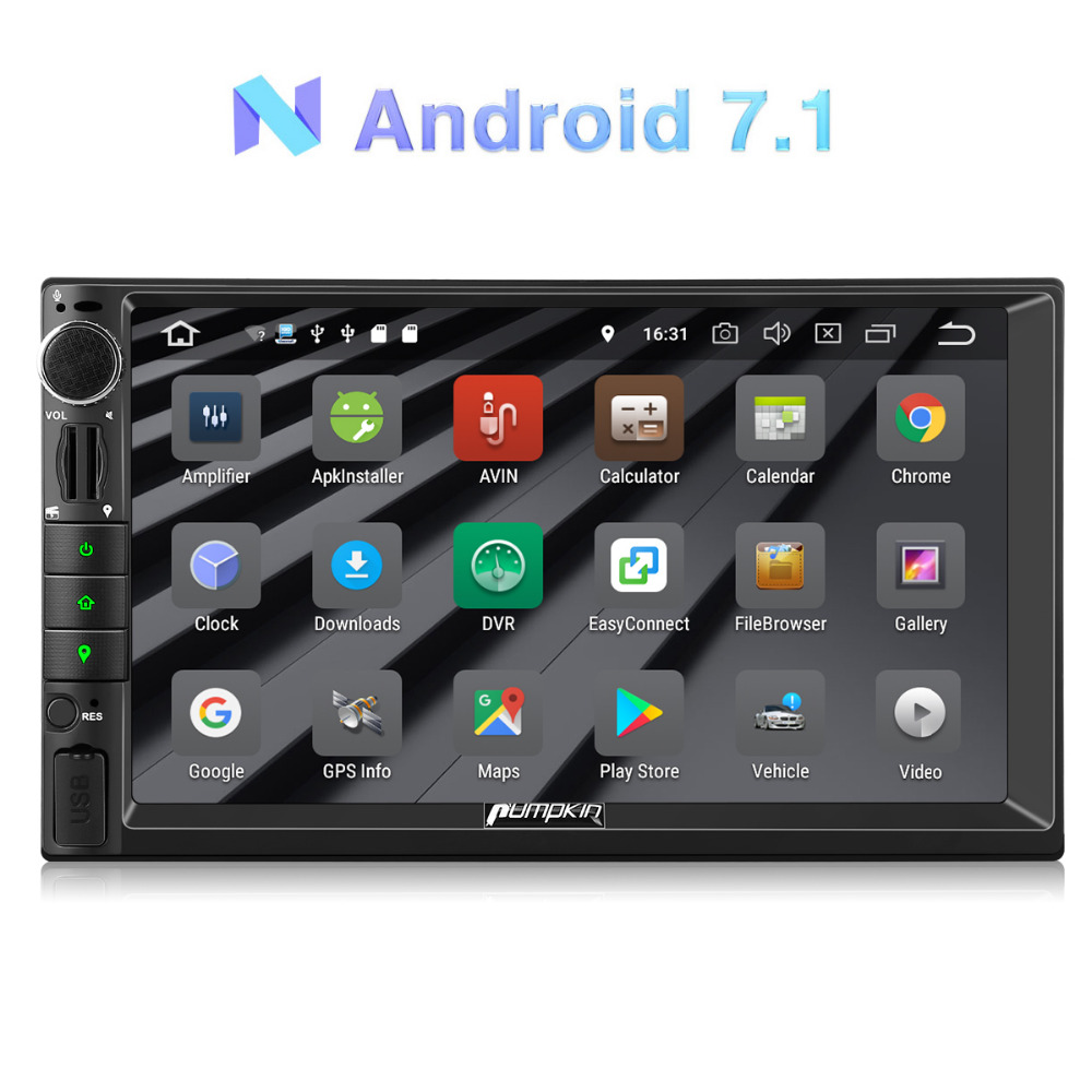 Pumpkin 2 Din 7'' Android 7.1 Universal Car Radio No DVD Player GPS Navigation Car Stereo Quad-Core Bluetooth DAB+ Wifi Headunit