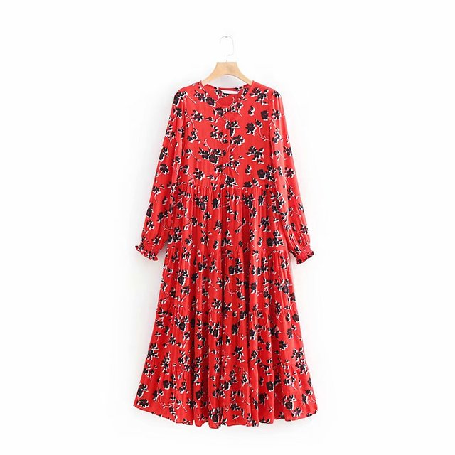 Women Floral Print Red Long Dress Ladies O Neck Pleated Big Swing Chic Vestidos Retro Party Dresses Ds1897